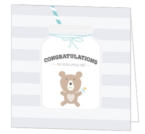 Blue Mason Jar Baby Shower Greeting Card
