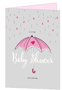 Pink Umbrella Baby Shower Greeting Card