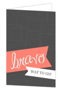 Gray And Coral Retro Wrapping Ribbons Congratulations Cards