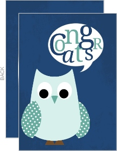 Blue And Teal Whimsical Owl Congratulations Card