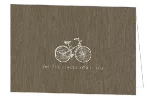 Brown Wood Grain Bicycle Congratulations Card