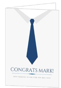 Blue Business Tie Congratulations Card