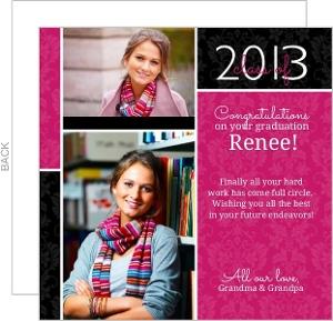 Pink Damask Grad Congratulations Card