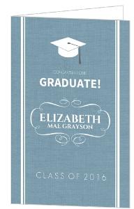 Blue Textured Grad Congratulations Card