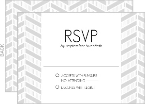 Modern Stripes Silver Foil Frame Wedding Response Card