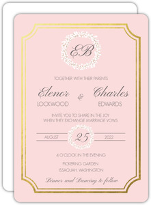 Blush Babys Breath Goil Foil Wedding Invitation