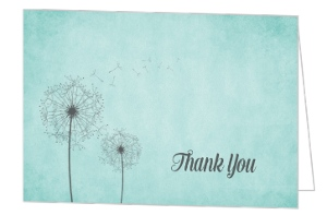 Dandelion Blue Thank You Card Blank