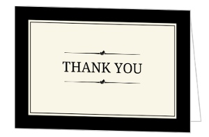 Cream Black Blank Thank You Card