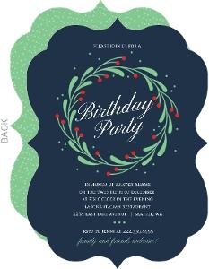 Whimsical Mistletoe Wreath Christmas Birthday Party Invitation