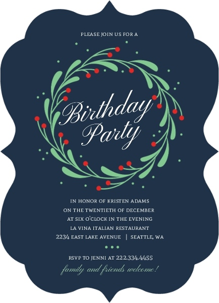 Whimsical Mistletoe Wreath Christmas Birthday Party Invitation
