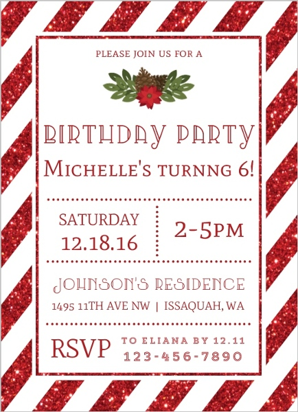Striped Red Glitter Christmas Birthday Party Invitation