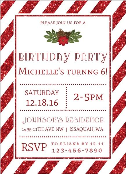 Striped Red Glitter Christmas Birthday Party Invitation