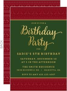 Festive Christmas Pattern Christmas Birthday Party Invitation