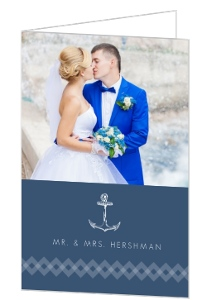 Navy Nautical Anchor Thank You Card