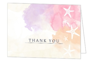 Beach Watercolors Bridal Shower Thank You