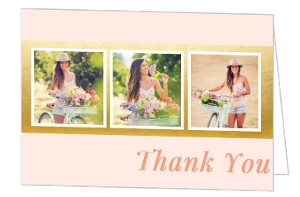 Soft Blush Pink & Faux Gold Foil Graduation Photo Thank You