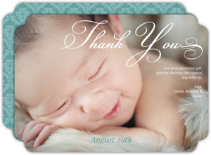 Soft Blue Damask Baptism Thank You Card
