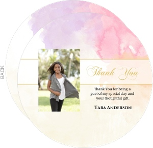 Gold And Bright Watercolor Bat Mitzvah Thank You Card