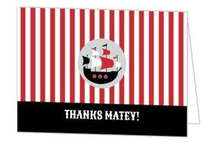 Red Striped Pirate Ship Birthday Thank You Card