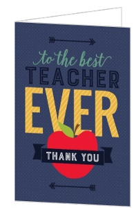 Modern Best Teacher Ever Teacher Thank You Card