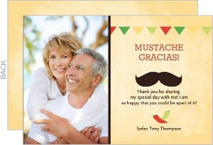 Rustic Yellow Mexican Fiesta 50Th Birthday Thank You Card