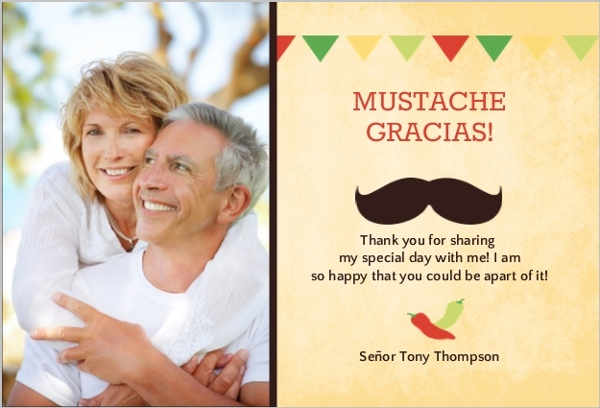 Rustic Yellow Mexican Fiesta 50Th Birthday Thank You Card – Personalized Birthday Thank You Cards