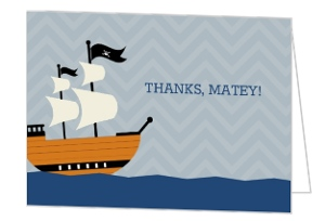 Gray And Blue Pirate Ship Birthday Thank You Card
