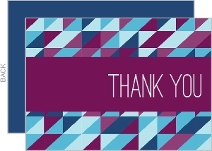 Bold Geometric Pattern Thank You Flat Card