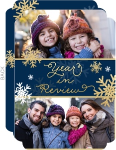 Midnight Glitter Snowflakes Year In Review Holiday Card