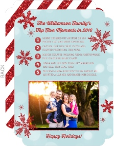 Red Glitter Favorite Moments Year in Review Holiday Card