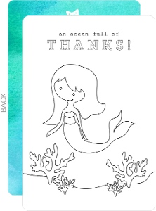 Under The Sea Mermaid Color In Thank You Card