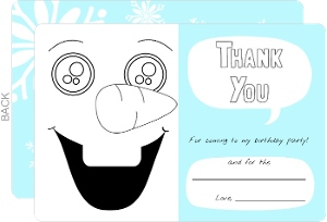 Silly Snowman Color In Thank You Cards