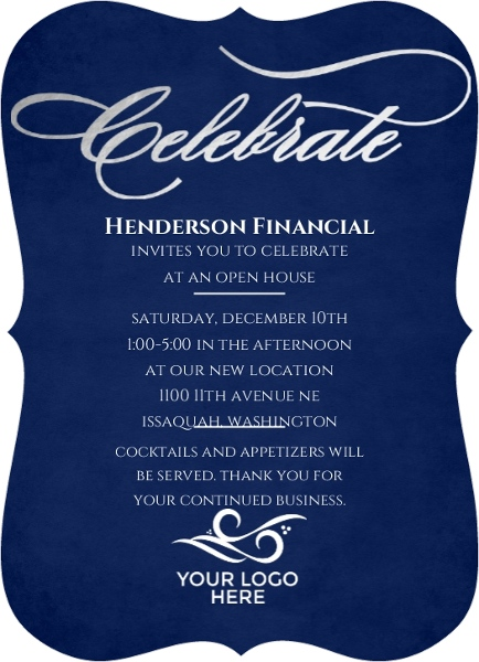 Silver Foil Celebrate Business Open House Invitation