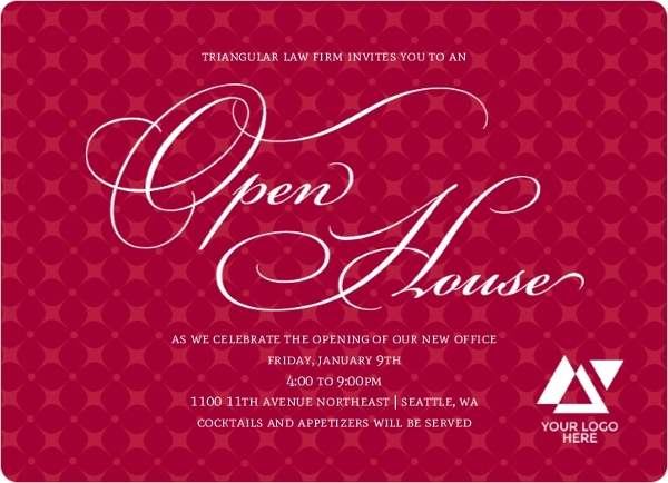 Diamond Patterned Business Open House Invitation