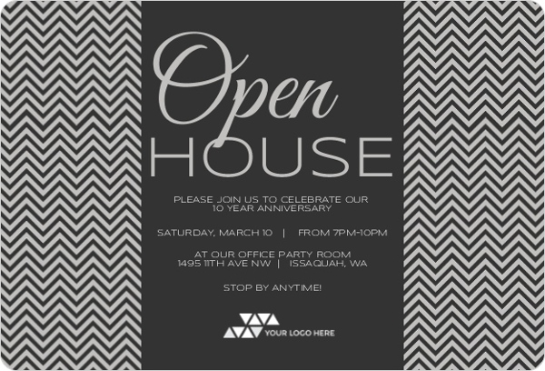 Chevron Shades Of Gray Corporate Open House Invitation