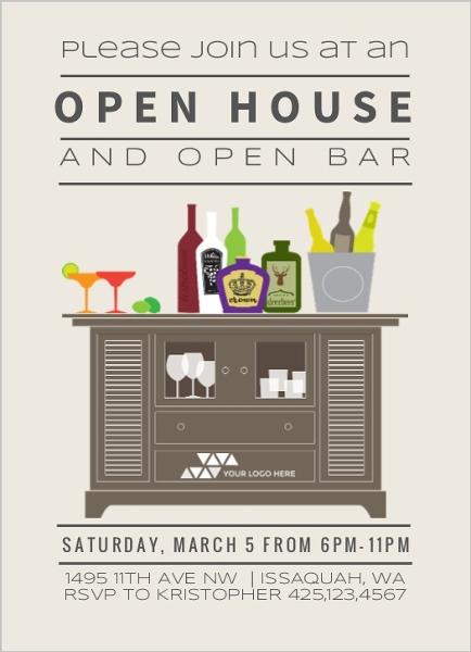 Open Bar Corporate Open House Invitation