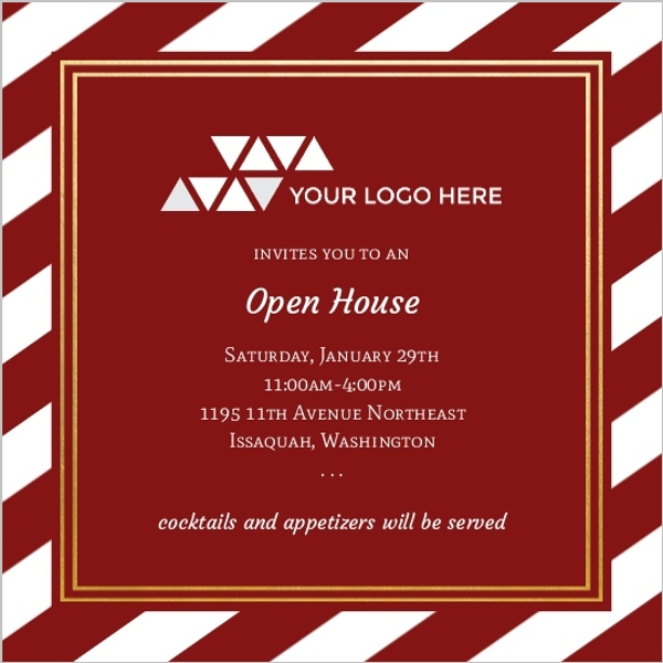 Classic Stripe and Gold Frame Business Open House Invitation