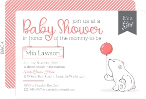 Pink & Gray Balloon Bear Baby Shower Invitation