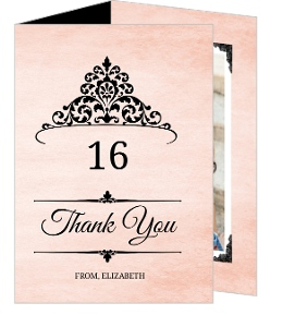 Pink And Black Princess Tiara Sweet 16 Thank You