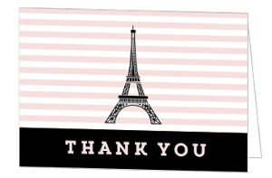 Whimsical Eiffel Tower Sweet 16 Thank You