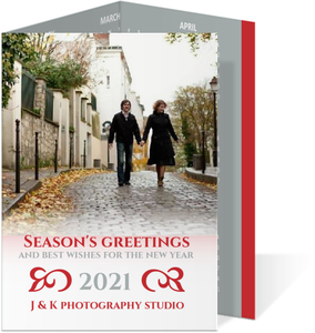 Red and Gray Business Holiday Card