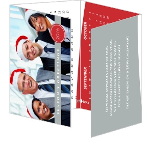 Red and Grey Business Calendar Holiday Card