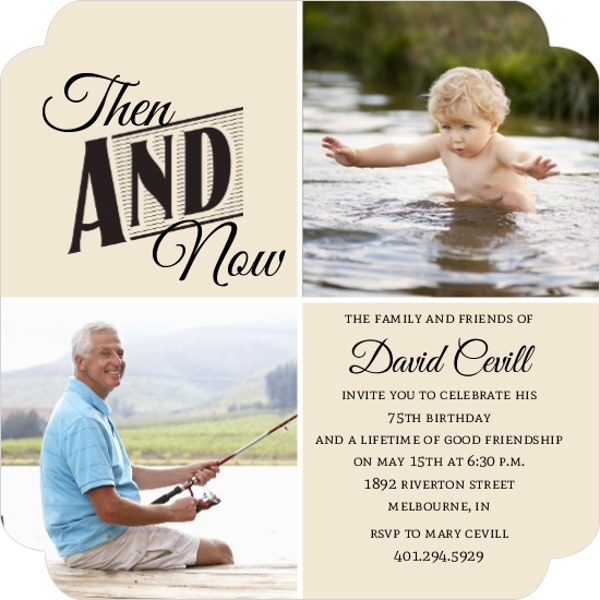 Then And Now Photo Squares 75Th Birthday Invitation | 75th ...
