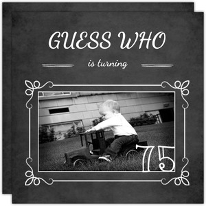 Chalkboard Guess Who Simple Photo  75th Birthday Invitation