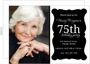 Elegant Black Frame 75Th Birthday Invitation
