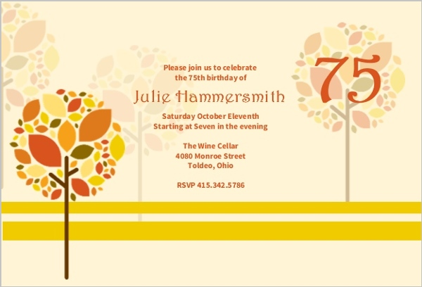 Autumn Trees 75Th Birthday Invitation – 75th Birthday Invitation Cards