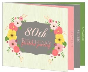 Garden Themed 80Th Birthday Invitation