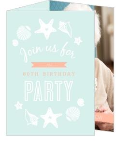 Beach Blue And Peach 80Th Birthday Party Invitation