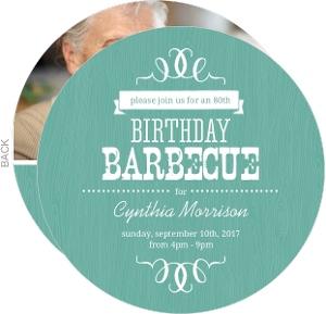 Turquoise Western Woodgrain 80th Birthday Invitation