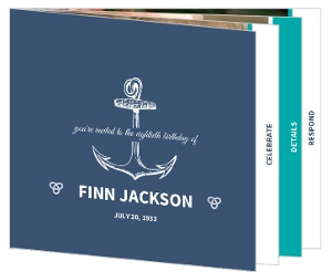 Navy And Turquoise Anchor 80Th Birthday Invitation